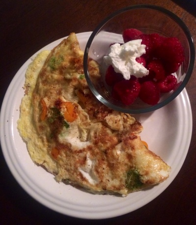 Omelet and raspberries