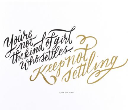 Keep not settling.