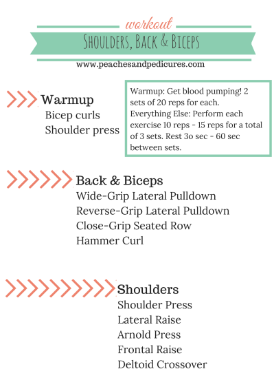 Shoulders, Back and Biceps workout